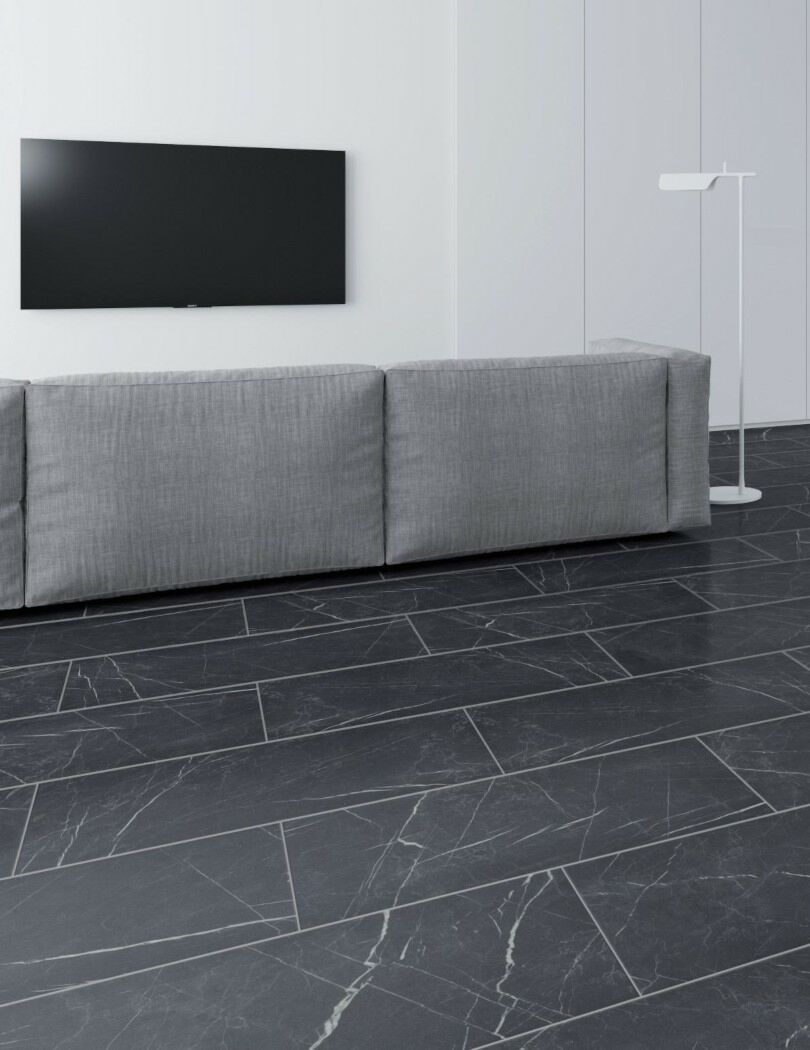 Black Marble Tile Effect laminate flooring by Faus