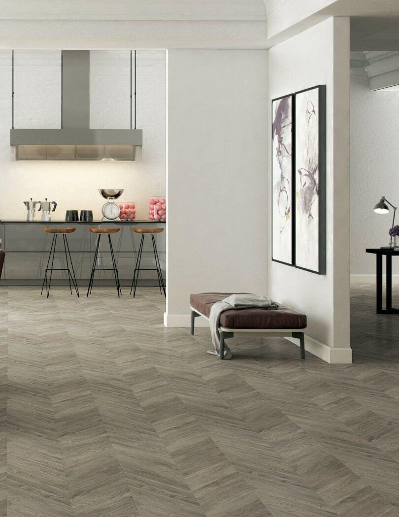 Faus Grey Chevron Parquet Laminate flooring