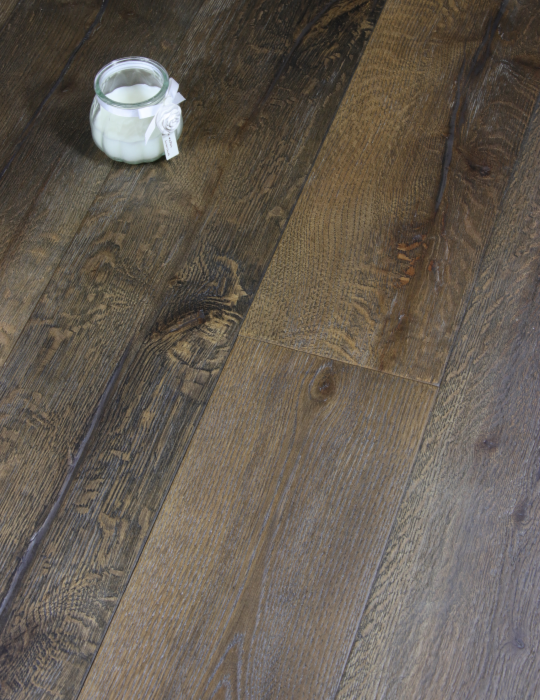 Long Plank Distressed Dark Wood Flooring
