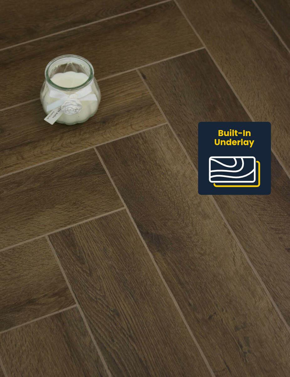 Regent Dark Oak Luxury vinyl herringbone flooring